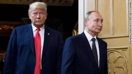 President Donald Trump and Russian President Vladimir Putin arrive for a meeting in Helsinki in July 2018.