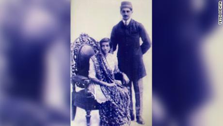 A Parsi bride and groom circa 1921.