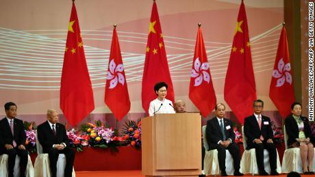 Hong Kong's Chief Executive Carrie Lam following a flag-raising ceremony to mark the handover on July 1, 2020.