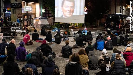 """People watch a screening of """"13th,"""" a documentary film by director Ava DuVernay, on June 9 in the CHOP."""