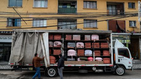 The coffins are brought to a funeral home in Santiago, Chile on June 19 during the new coronavirus pandemic.