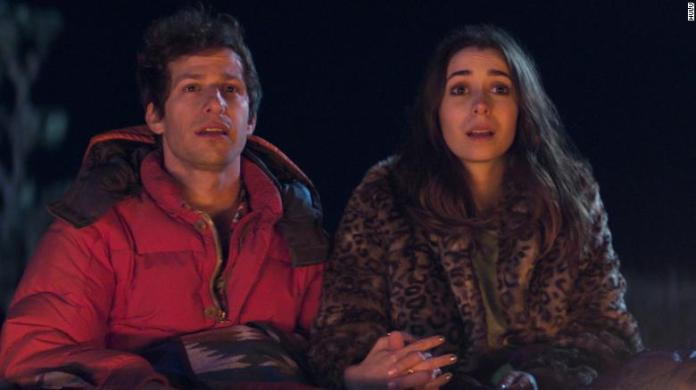 Andy Samberg and Cristin Milioti in 'Palm Springs.'