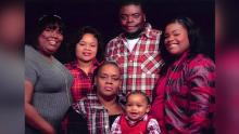 From left, Jefferson and Amber, Yolanda, Adarius, Zion and Ashley Carr.
