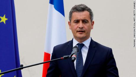 Newly appointed Interior minister Gerald Darmanin delivers a speech on July 7 at the police headquarters of Les Mureaux, outside Paris, on his first official visit in the role.