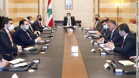 Lebanese Prime Minister Hassan Diab and Iraq's Oil Minister Ihsan Abdel-Jabbara hold a meeting in Beirut on July 3, 2020.