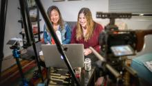 """Yue Xu and Julie Krafchick host the """"Dateable"""" podcast."""