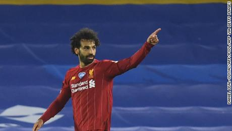 Mohamed Salah celebrates scoring his second goal in Liverpool's victory over Brighton.