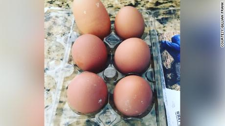 Chickens lay about half a dozen eggs each day.