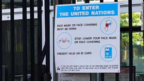 UN sign describing mask protocol at the headquarters