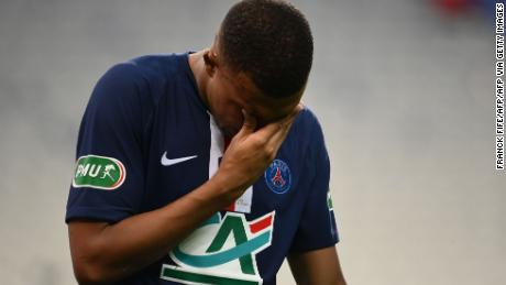 Kylian Mbappe walked off the pitch in tears following Loic Perrin's late challenge.