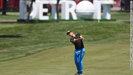 Hovland plays a shot during the final round of the Rocket Mortgage Classic.