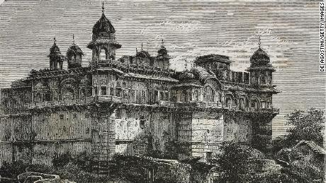 Durjan Sal Palace, Bharatpur.  Engraving from India, 1877, by Louis Rousselet.