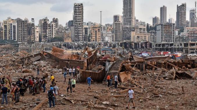 The scene of an explosion near the the port in the Lebanese capital Beirut on August 4, 2020.