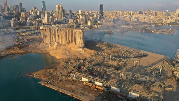 This aerial photo, taken on August 5, 2020, shows the aftermath of the massive explosion in Beirut, Lebanon.