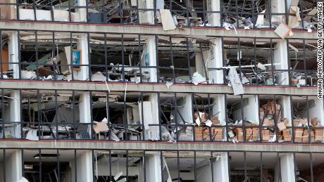 A damaged facade.