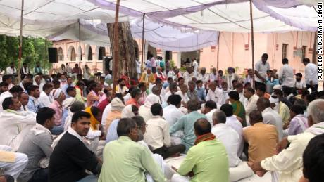 Hundreds of people attend a celebration in Bharatpur on July 23, 2020, the day after 11 policemen were sentenced to life in prison for Raj Man Singh's murder.