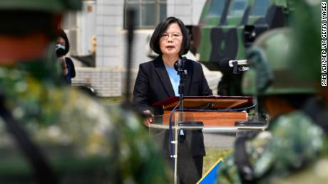 Taiwanese President Tsai Ing-wen delivers her address to soldiers amid the COVID-19 coronavirus pandemic during her visit to a military base in Tainan, southern Taiwan, April 9.