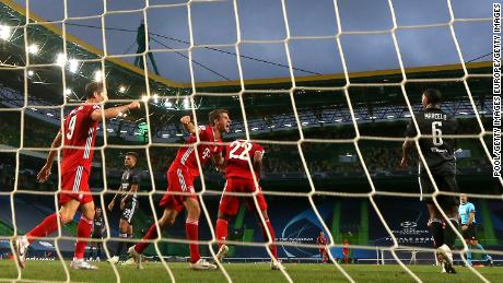 Bayern Munich celebrate Serge Gnabry's second goal against Lyon.
