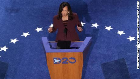 Democratic vice presidential nominee U.S. Sen. Kamala Harris (D-CA) speaks on the third night of the Democratic National Convention from the Chase Center August 19, 2020 in Wilmington, Delaware. (Photo by Win McNamee/Getty Images)