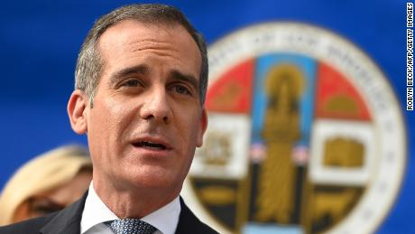 Los Angeles Mayor Eric Garcetti speaks at a Los Angeles County Health Department press conference on the novel coronavirus on March 4, 2020, in Los Angeles, California.
