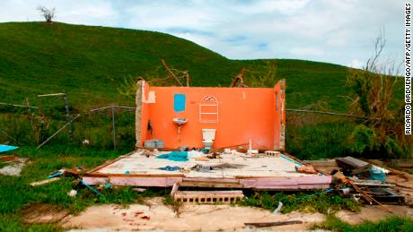 One of many houses destroyed in the aftermath of Hurricane Maria in Naguabo, Puerto Rico on October 2, 2017.