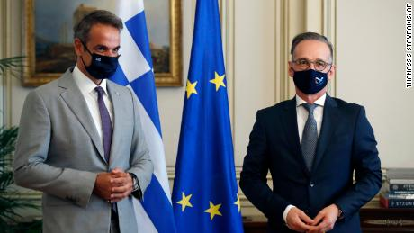 Greek Prime Minister Kyriakos Mitsotakis, left, and German Foreign Minister Heiko Maas met in Athens on August.  25, 2020.