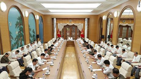 Kim Yo Jong does not appear in any of the photographs released by North Korean state media of Tuesday's meeting.