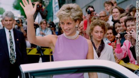 Princesss Diana waves to crowds in Sydney on a four-day private visit in 1996.