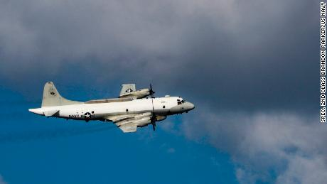 A US Navy EP-3E reconnaissance plane flies over the Mediterranean Sea in 2019.