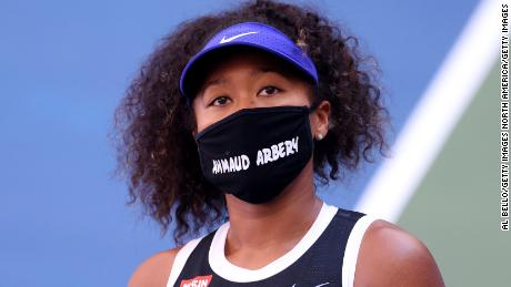 Naomi Osaka wore a mask with the name Ahmaud Arbery on it at the US Open on Friday.