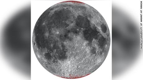 An enhanced map of hematite (dust) on the moon, shown in red using a spheric projection of the nearside.