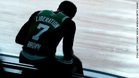 Jaylen Brown sees 'a black man being shot seven times in the back' when looking at his shirt.
