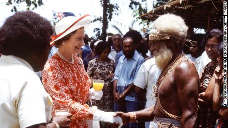 Queen Elizabeth II visiting the Solomon Isles in 1982.
