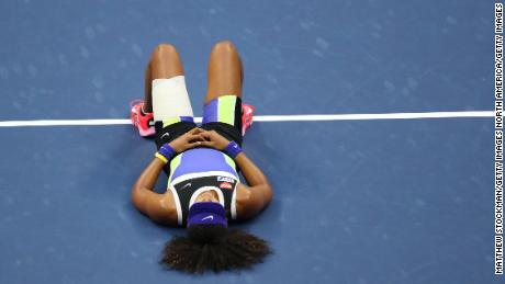 Naomi Osaka takes it all in after winning the US Open final on Saturday, September 12.