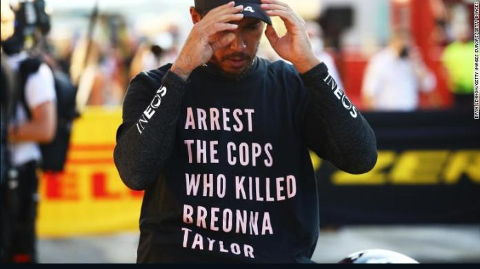 Lewis Hamilton of Great Britain wears a shirt in tribute to the late Breonna Taylor  during the F1 Grand Prix of Tuscany on Sunday, September 13.