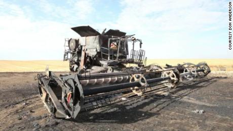 Lane Unhjem was operating his combine when it suddenly caught on fire and he suffered a subsequent heart attack.