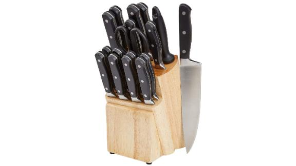 AmazonBasics Premium 18-Piece Kitchen Knife Block Set
