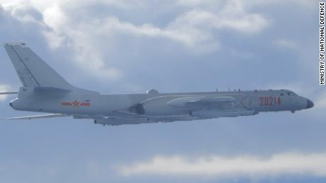 A Chinese H-6 bomber intercepted by Taiwanese planes over the Taiwan Strait in September.