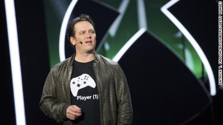 Phil Spencer, executive vice president of Xbox Business for Microsoft Corp., speaks during the company's Xbox One X reveal event ahead of the E3 Electronic Entertainment Expo in Los Angeles, California, U.S., on June 11, 2017.