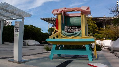 A melting sculpture of a lifeguard station was installed in Miami.
