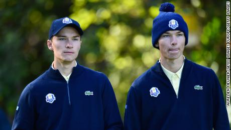 Danish twin brothers Rasmus and Nicolai Hojgaard played together in the 2018 Junior Ryder Cup.