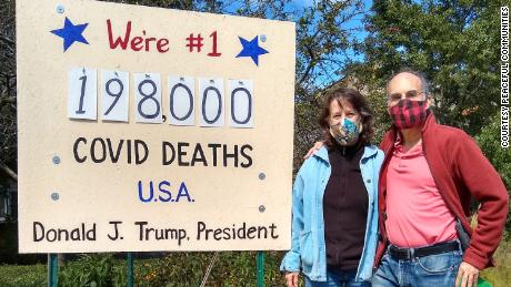 """The """"Covid death scoreboard"""" was unveiled Friday."""