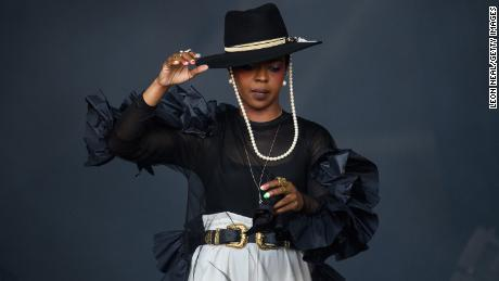 Lauryn Hill performs on the Pyramid Stage at the Glastonbury Festival in England in 2019.