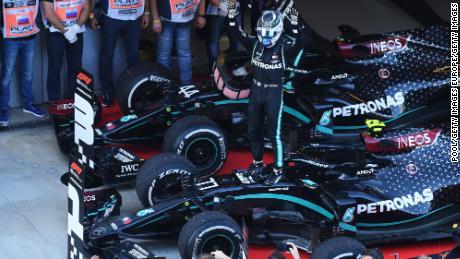 Bottas celebrates after winning the Russian GP.