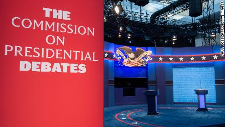 The stage of the first US Presidential debate is seen at Case Western Reserve University and the Cleveland Clinic in Cleveland, Ohio on September 28, 2020. - Tuesday's clash in Cleveland, Ohio, the first of three 90-minute debates, represents the first time voters will have the chance to see the candidates facing off against one another directly.