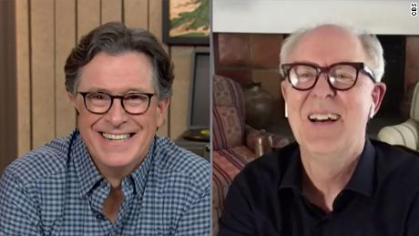 The Late Show with Stephen Colbert and John Lithgow during Wednesday's September 30, 2020 show. Photo: Best Possible Screen Grab/CBS 2020 CBS Broadcasting Inc. All Rights Reserved.
