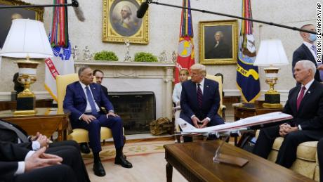Iraqi Prime Minister Mustafa al-Kadhimi speaks as he meets with President Donald Trump in the Oval Office on August 20, 2020, in Washington.