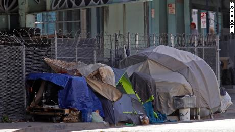 Homeless encampment seen on Monday, April 13, 2020, in San Francisco.