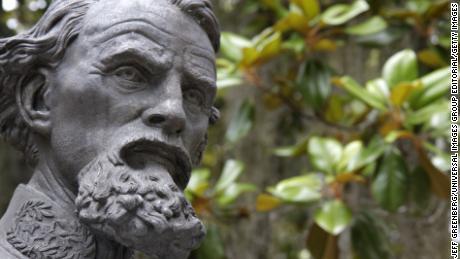 Lieutenant General Nathan Bedford Forrest bust at Old Live Oak Cemetery.