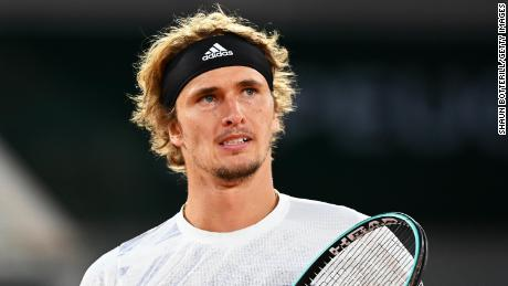 Zverev reacts during his match against Pierre-Hugues Herbert at the French Open.